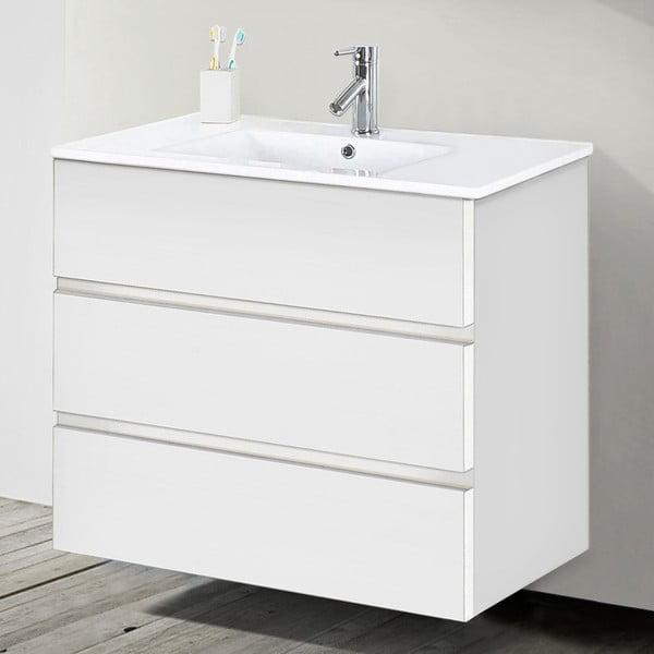 Kúpeľňová skrinka s umývadlom a zrkadlom Nayade, odtieň bielej, 80 cm