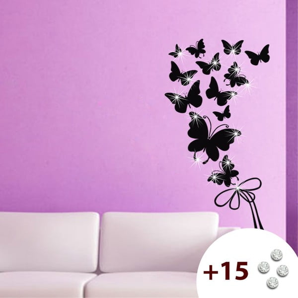 Set samolepky a 15 Swarovski krištáľov Fanastick Butterflies