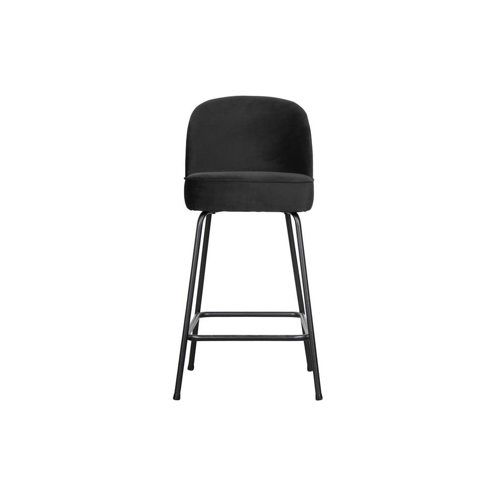 Čierna barová stolička BePureHome Vogue Velvet, výška 89 cm