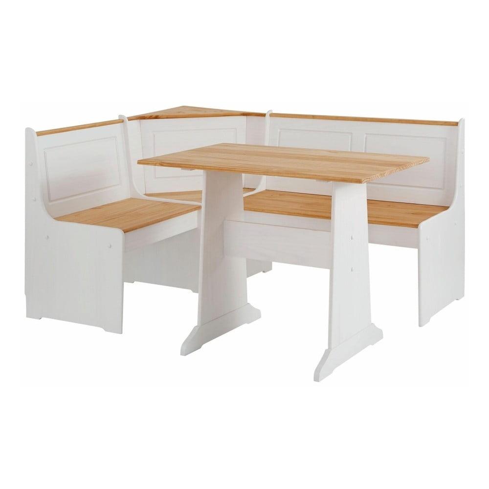 Set bielej rohovej lavice a jedálenského stola z masívneho borovicového dreva Støraa Samantha