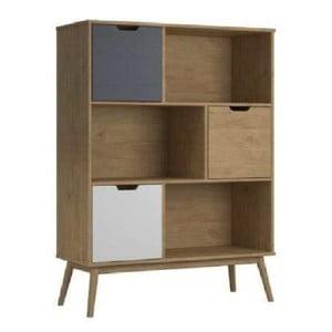 Knižnica z borovicového dreva s bielou a sivou zásuvkou SOB Van