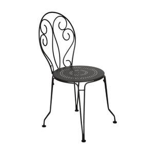 Čierna kovová stolička Fermob Montmartre