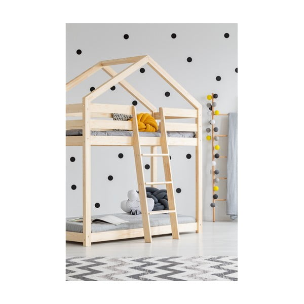 Domčeková poschodová posteľ z borovicového dreva Adeko Mila DMP, 90 × 200 cm