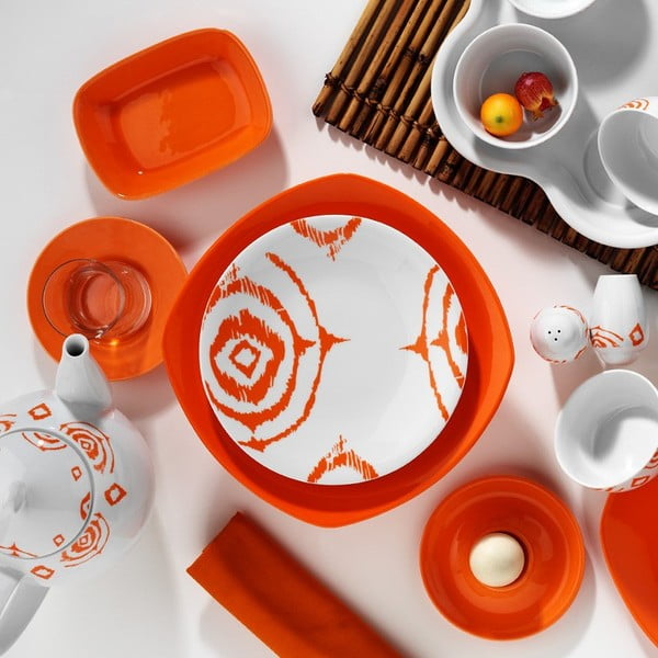 Porcelánová sada Breakfast Orange, 43 ks