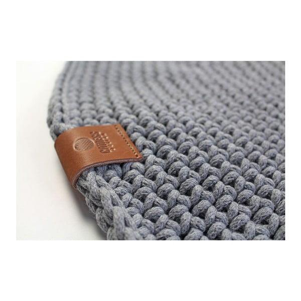 Háčkovaný okrúhly koberec Catness, sivý, 100 cm