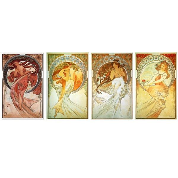 Sada štyroch obrazov Alfons Mucha The Arts, 50x80 cm