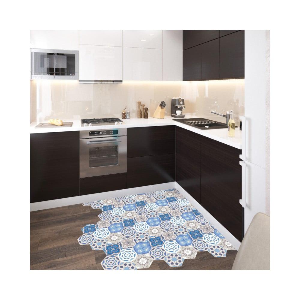 Sada 10 samolepiek na podlahu Ambiance Floor Stickers Hexagons Alina, 40 × 90 cm