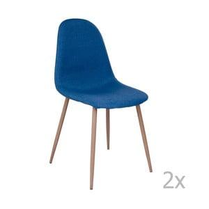 Sada 2 modrých stoličiek s hnedými nohami House Nordic Štokholm