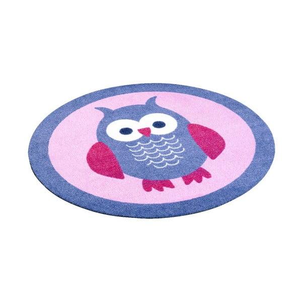 Detský ružový koberec Hanse Home Sova, ⌀100cm