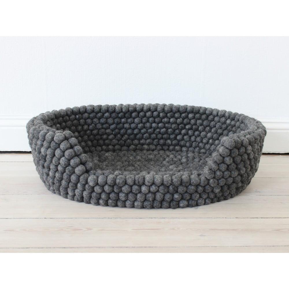 Antracitovosivý guľôčkový vlnený pelech pre domáce zvieratá Wooldot Ball Pet Basket, 60 x 40 cm