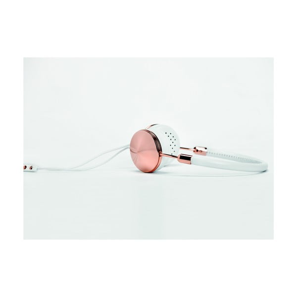 Biele slúchadlá s detailmi vo farbe ružového zlata Frends Layla