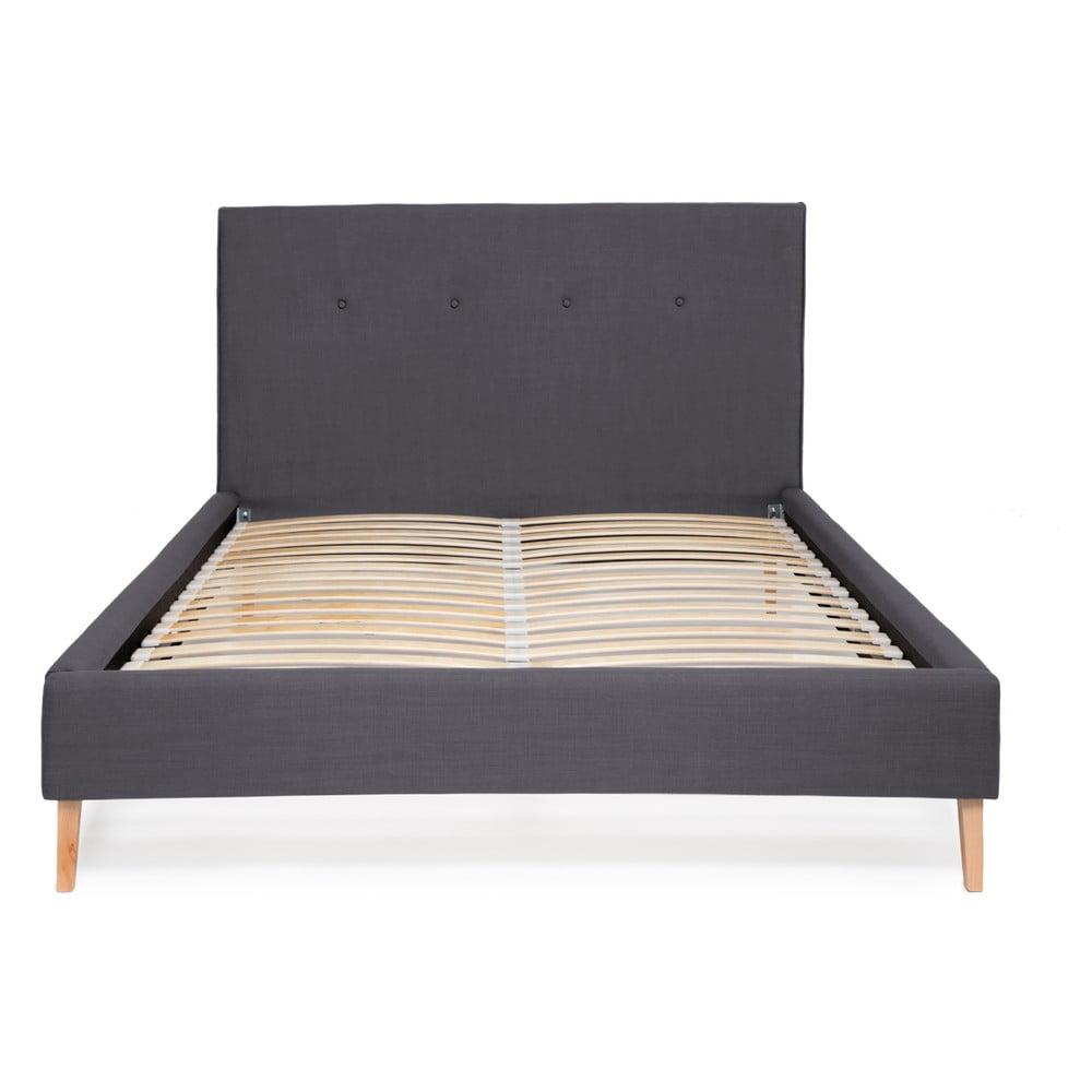 Tmavomodrá posteľ Vivonita Kent Linen, 200 × 160 cm