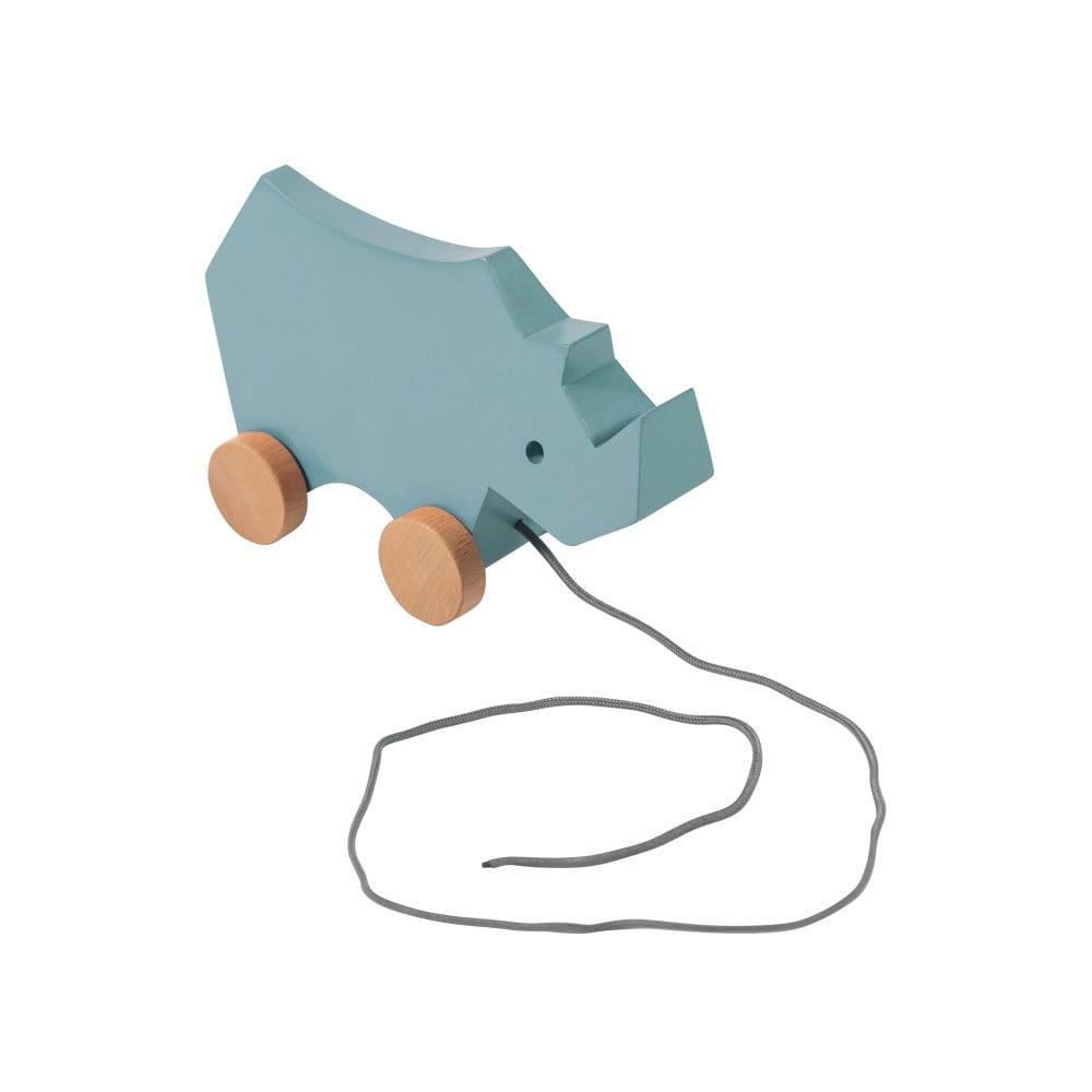 Drevená modrá detská ťahacia hračka na kolieskach Sebra Rhino