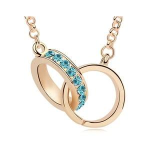 Pozlatený náhrdelník s modrými krištáľmi Swarovski Compania