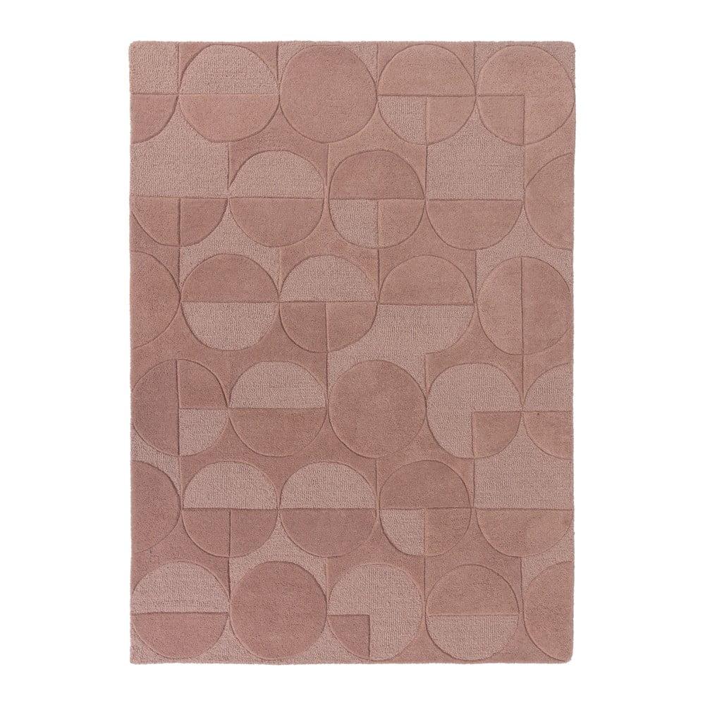 Ružový koberec z vlny Flair Rugs Gigi, 160 × 230 cm