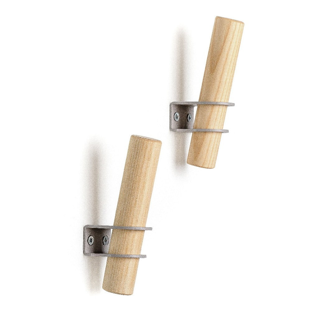 Sada 2 háčikov z jaseňového dreva so sivým držiakom EMKO Torch