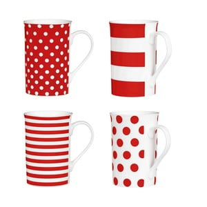 Sada 4 hrnčekov Premier Housewares Spot and Stripes Red, 270 ml