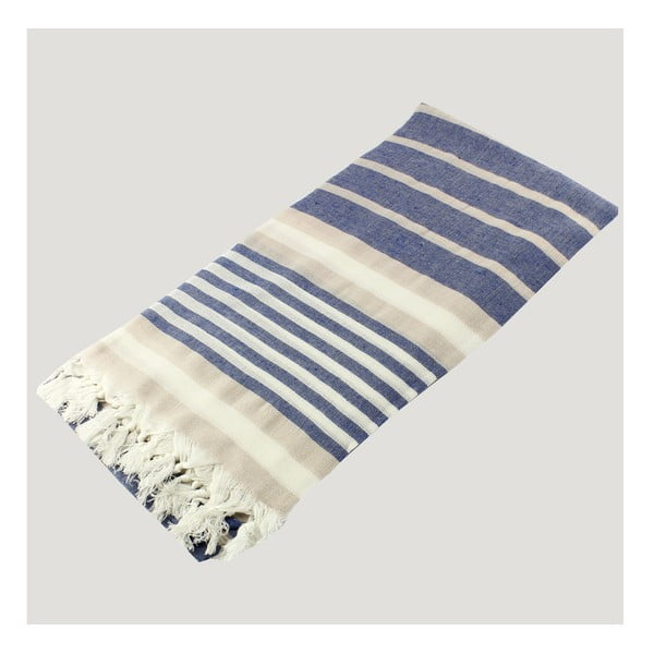 Modro-biela osuška z čistej bavlny Hammam Alesta Style, 90 x 180 cm