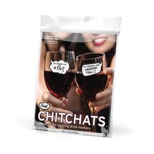 Sada 48 samolepiek na poháre Fred & Friends Chit Chats