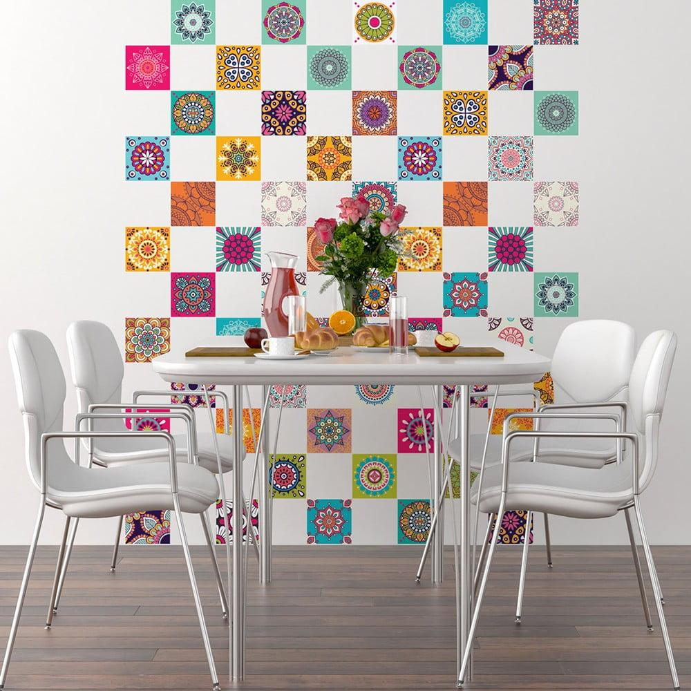 Sada 60 dekoratívnych samolepiek na stenu Ambiance Flow, 10 × 10 cm