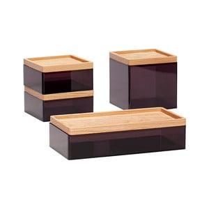 Sada 4 čiernych úložných boxov s vrchnákmi z dubového dreva Hübsch Eluf