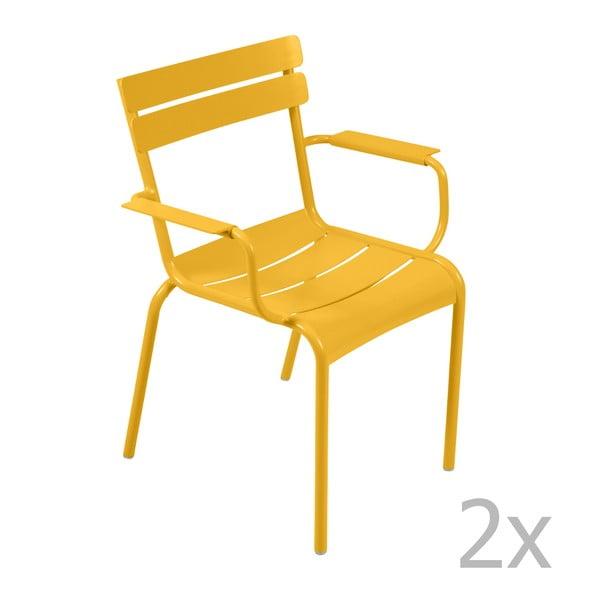 Sada 2 žltých stoličiek s opierkami na ruky Fermob Luxembourg