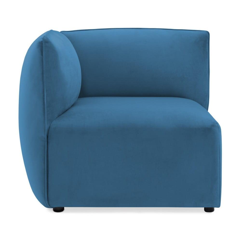 Modrý ľavý rohový modul pohovky Vivonita Velvet Cube