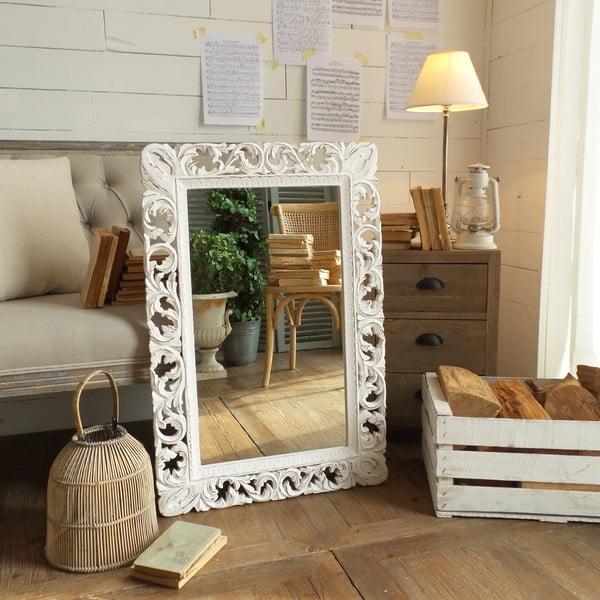Zrkadlo s rámom z mangového dreva Orchidea Milano Antique White Lace