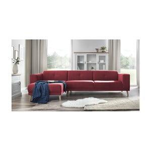 Červená pohovka s lenoškou a podnožkou Bobochic Paris Luna, levý roh