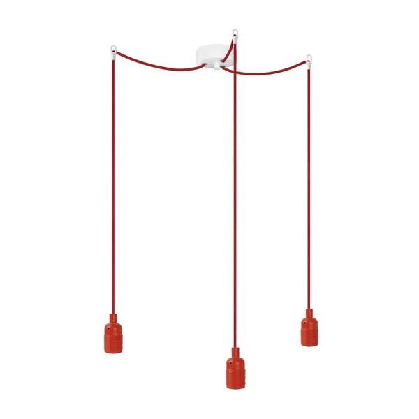 Tri závesné káble Uno, červená / červená / biela