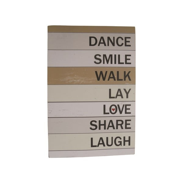 Závesná ceduľa Dance Smile Walk, 60x40 cm