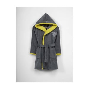 Detský sivo-žltý bavlnený župan s kapucňou, 9-12 let