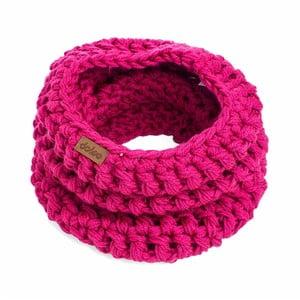 Ružový ručne háčkovaný nákrčník z merino vlny DOKE