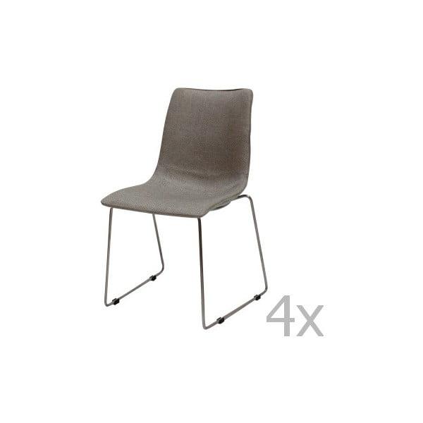 Sada 4 sivých stoličiek Canett Delta