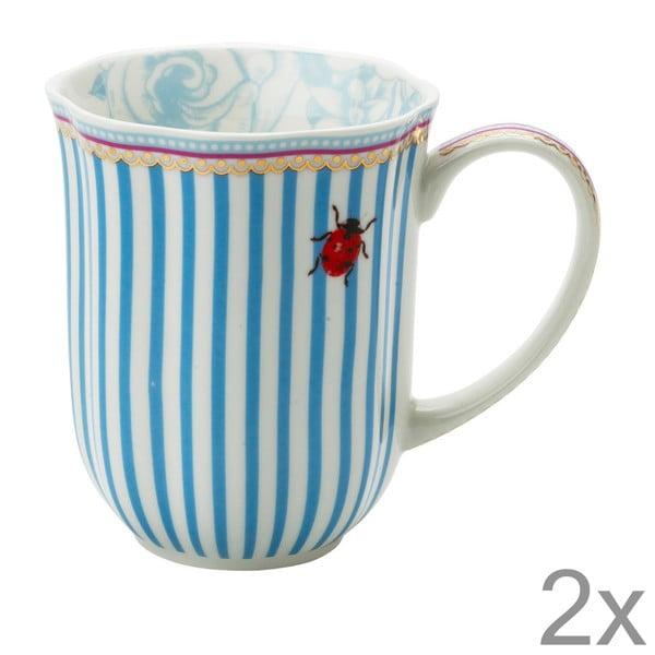 Porcelánový hrnček na kávu Stripie od Lisbeth Dahl, 2 ks