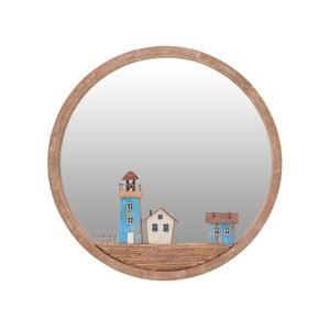 Nástenné zrkadlo s rámom z brezového dreva InArt Glamour, ⌀ 39 cm