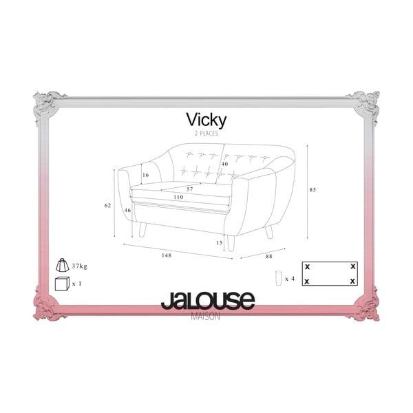 Ružovočervená pohovka pre dvoch Jalouse Maison Vicky
