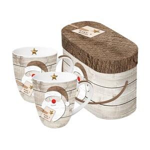Sada 2 porcelánových hrnčekov s vianočným motívom v darčekovom balení PPD Santa Red Nose, 350 ml