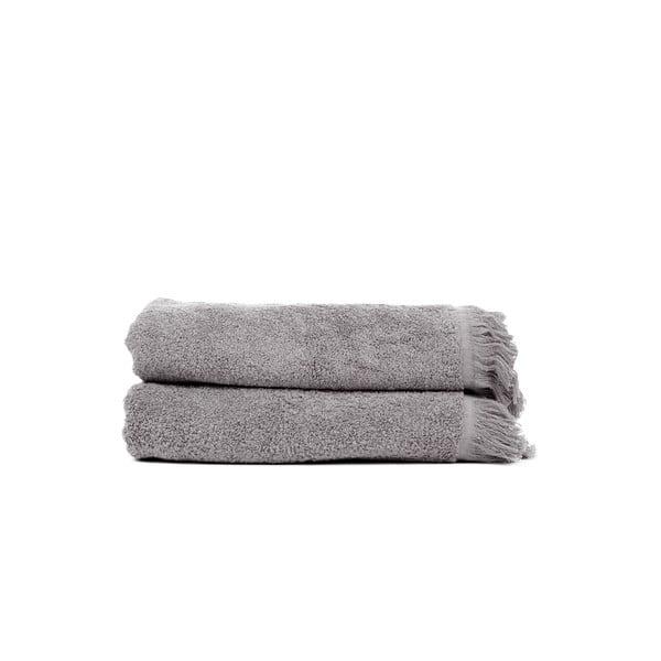Sada 2 sivých bavlnených osušiek Casa Di Bassi Soft, 70x140cm