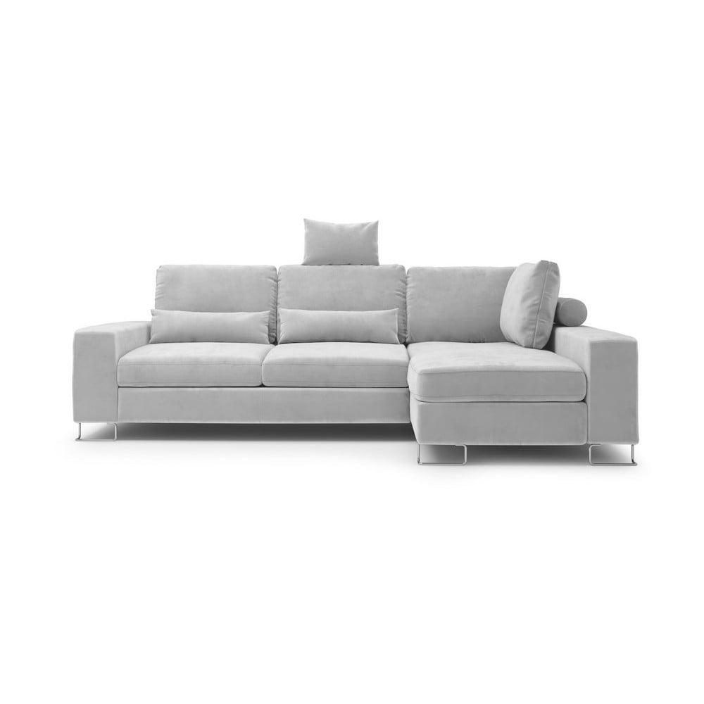 Svetlosivá rozkladacia rohová pohovka so zamatovým poťahom Windsor & Co Sofas Diane, pravý roh