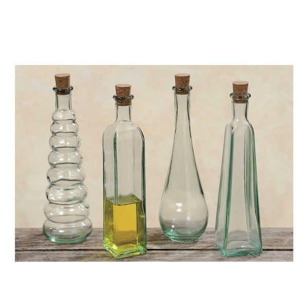 Sada 4 dekoratívnych fľaštičiek Bottles