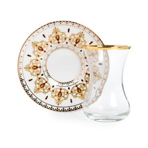 Set pohára s tanierikom Vivas Gold Ceramic Decor, 100 ml