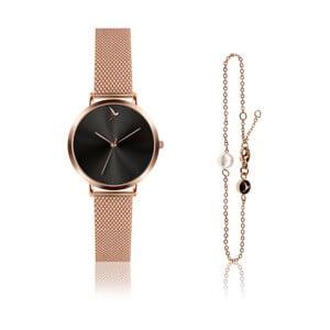 Set dámskych hodiniek a náramku z antikoro ocele v ružovozlatej farbe Emily Westwood Claro