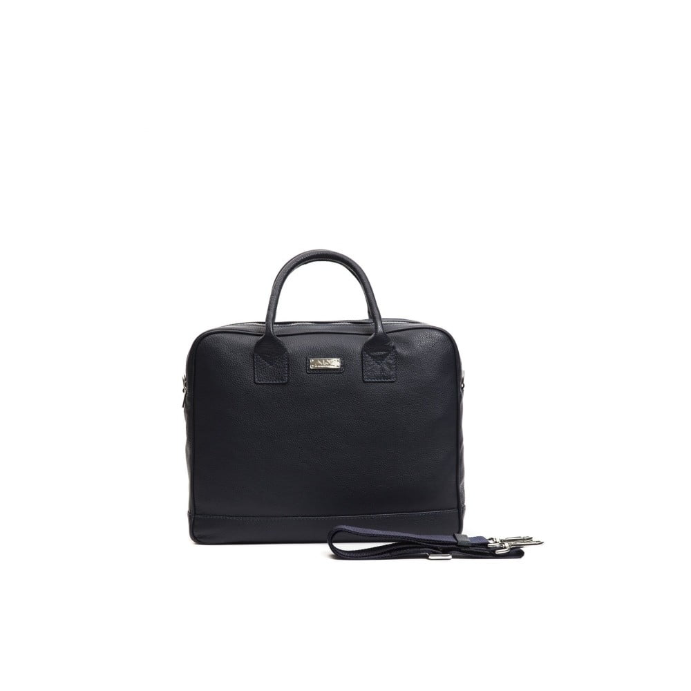 Tmavomodrá pánska kožená taška Alviero Martini Ruso