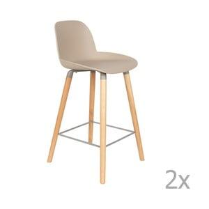 Sada 2 béžovosivých barových stoličiek Zuiver Albert Kuip, výška sedu 65 cm