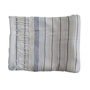 Modro-biela ručne tkaná osuška z prémiovej bavlny Bodrum, 100×180 cm