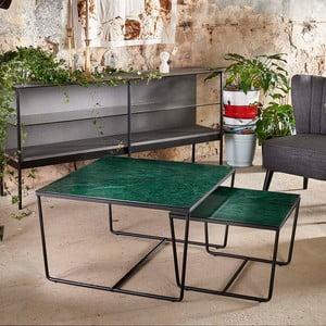 Sada 2 konferenčných stolíkov s podnožím v čiernej farbe a zelenú mramorovou doskou RGE Stella