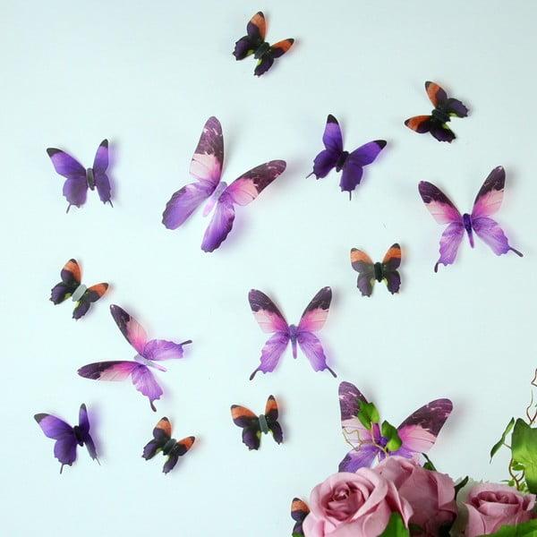 Sada 18 adhezívnych 3D samolepiek Fanastick Butterflies Purple