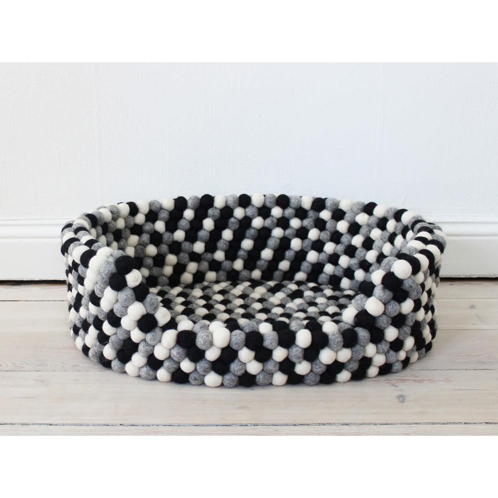 Čierno-biely guľôčkový vlnený pelech pre domáce zvieratá Wooldot Ball Pet Basket, 80 x 60 cm