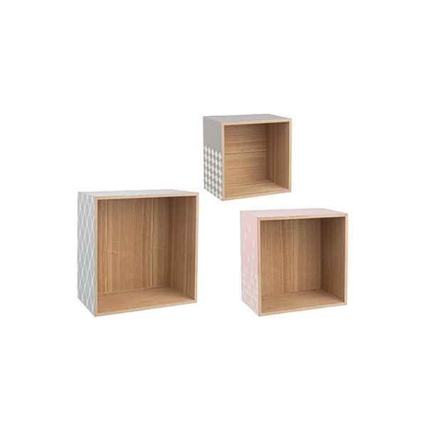 Sada 3 nástenných poličiek Cube
